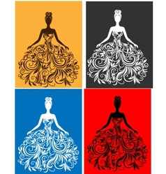 silhouette of young woman in a dress vector image