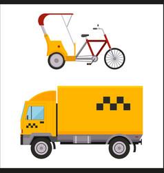 yellow taxi truck varn rickshaw bike vector image