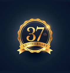 37th anniversary celebration badge label in vector