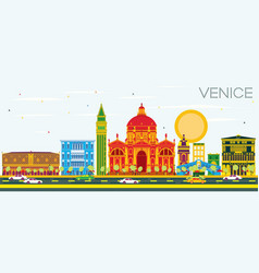 Venice skyline with color buildings and blue sky vector