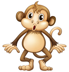 Cute monkey standing alone vector