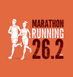 Man and woman running together with text marathon vector