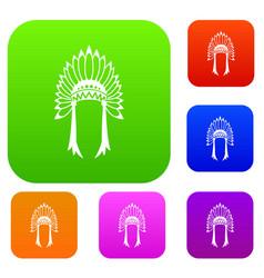 Indian headdress set collection vector