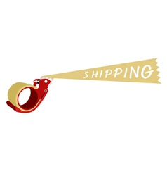 Adhesive tape dispenser with a word shipping vector
