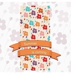 Card with a floral pattern and ribbon banner vector image