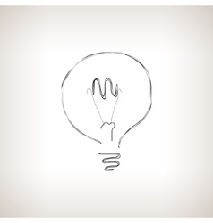 Silhouette lightbulb on a light background vector image