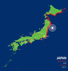 Japan earthquake map vector
