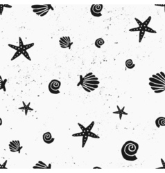 Black and white seashells vintage seamless pattern vector