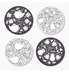 Round stickers set with doodle tea and coffee vector