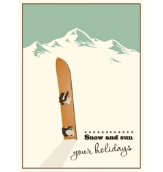 Old snowboard in the snow vector