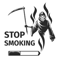 Stop smoking with death sign vector image