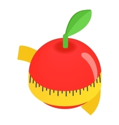 Red apple centimeter isometric 3d icon vector