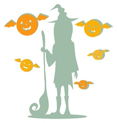 Silhouette of girl witch hat vector