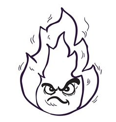 Black and white angry freehand drawn cartoon fire vector