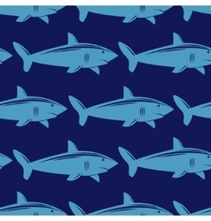 Seamless pattern with shark in water vector