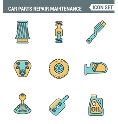 Icons line set premium quality of car parts repair vector