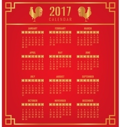 Calendar for 2017 with chinese zodiac rooster vector