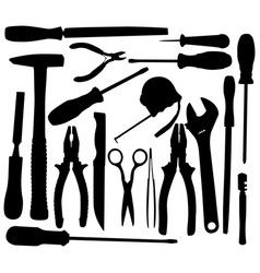 black hand tool pictograms vector image
