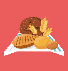Bread loafs wheat food with blanket vector