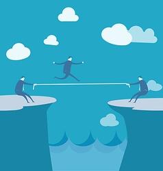 Businessmen pulling together on a cliff vector