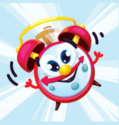 Cartoon red alarm clock with a smile vector