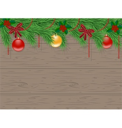 christmas card with decorated christmas tree vector image