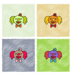 Circus clown set in hatching style vector