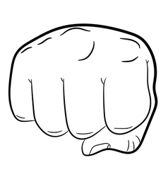 Clenched fist front view on white background vector