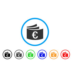 Euro checkbook rounded icon vector