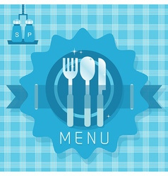 Fork spoon and knife icon on plaid pattern vector