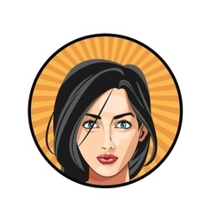 Girl blue eyes black hair attractive sticker vector