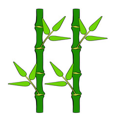 Green bamboo stem icon cartoon vector