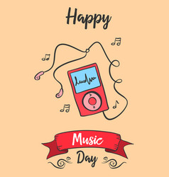 Greeting card of music day celebration vector