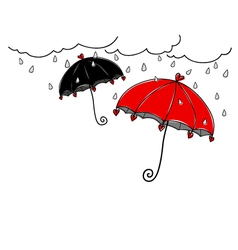 Hand drawn umbrella in rainy day on white backgrou vector image vector image