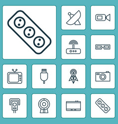 Hardware icons set collection of broadcast cctv vector