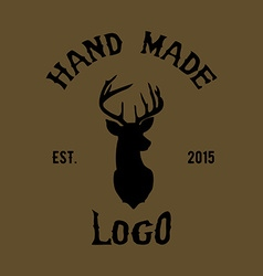 Hipster logo with head of deer vector