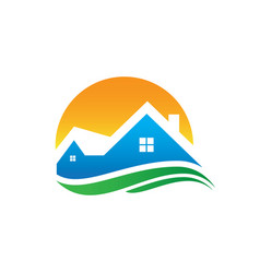 Home sunset wave logo image vector