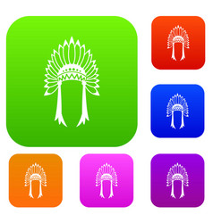 Indian headdress set collection vector