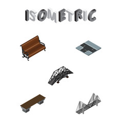 Isometric urban set of sitting bench bridge and vector