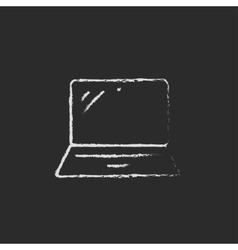 Laptop drawn in chalk vector image vector image