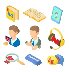 Learning foreign languages icons set cartoon style vector