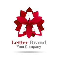 Letter a logo symbol red geometric logotype with vector