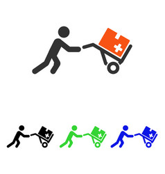 Medical shopping cart flat icon vector