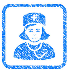 Physician lady framed stamp vector