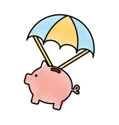 Piggy savings with parachute vector