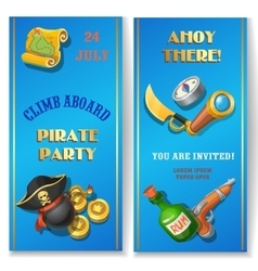 Pirate party cartoon invitation card or banners vector image