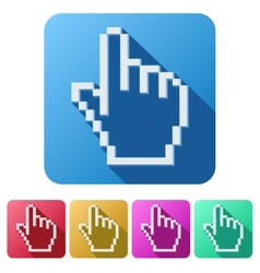 Pixel cursor flat icon click mouse hand vector