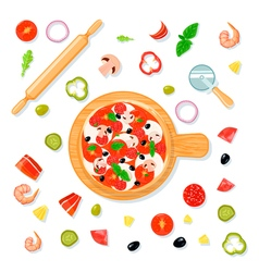 Pizza Set Cartoon Composition vector image