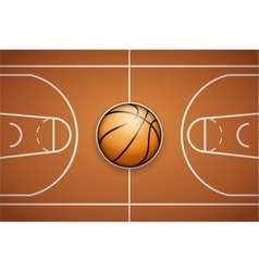 Poster template of basketball ball and field vector