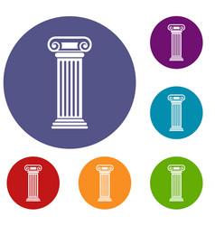 roman column icons set vector image